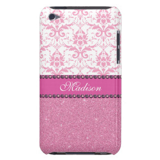 Girly pink and white Damask, pink glitter Name iPod Touch Cover