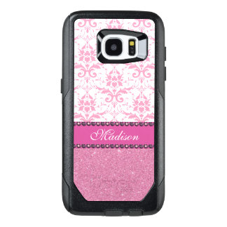 Girly pink and white Damask, pink glitter Name OtterBox Samsung Galaxy S7 Edge Case