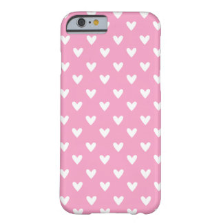 Girly Pink and White Heart Pattern Barely There iPhone 6 Case