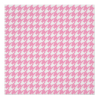 Girly Pink and White Houndstooth Pattern Perfect Poster