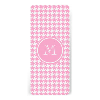 Girly Pink and White Houndstooth Your Monogram Personalized Invite