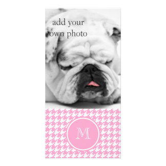 Girly Pink and White Houndstooth Your Monogram Customized Photo Card