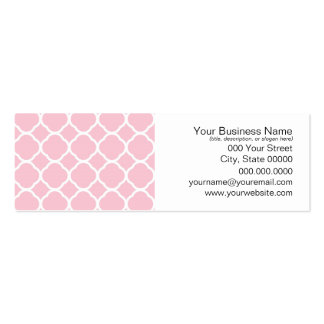 Girly Pink and White Quatrefoil Pattern Mini Business Card