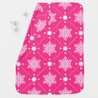 Girly Pink and White Snowflakes Christmas Pattern Baby Blanket
