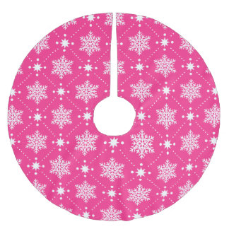 Girly Pink and White Snowflakes Christmas Pattern Brushed Polyester Tree Skirt
