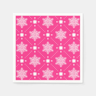 Girly Pink and White Snowflakes Christmas Pattern Disposable Napkins