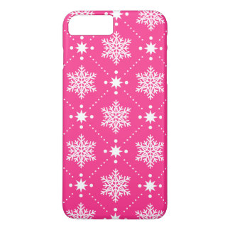Girly Pink and White Snowflakes Christmas Pattern iPhone 8 Plus/7 Plus Case