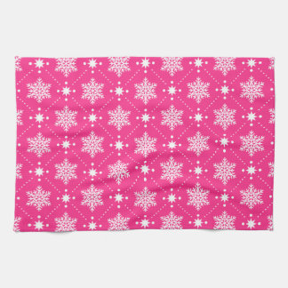 Girly Pink and White Snowflakes Christmas Pattern Kitchen Towel