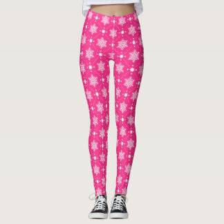 Girly Pink and White Snowflakes Christmas Pattern Leggings