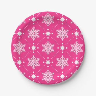 Girly Pink and White Snowflakes Christmas Pattern Paper Plate