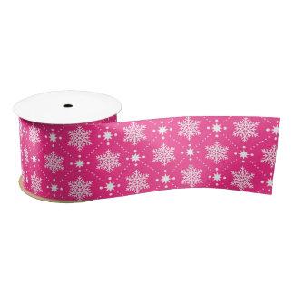 Girly Pink and White Snowflakes Christmas Pattern Satin Ribbon