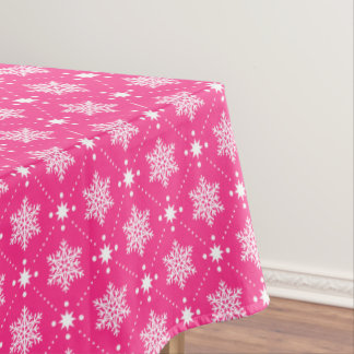 Girly Pink and White Snowflakes Christmas Pattern Tablecloth