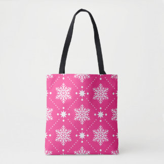 Girly Pink and White Snowflakes Christmas Pattern Tote Bag