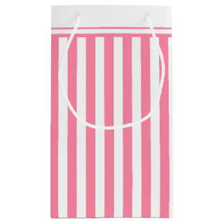 Girly Pink and White Stripes Small Gift Bag