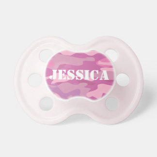 Girly pink army camo camouflage baby pacifier