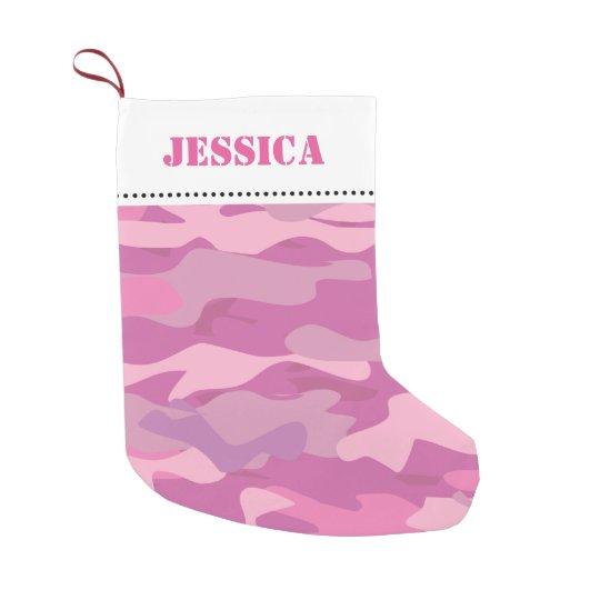 Girly pink army camouflage Christmas stocking Small Christmas Stocking
