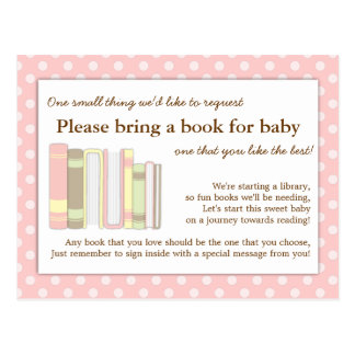 Girly Pink Baby Shower Book Insert Request Card Postcard