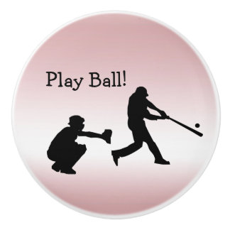 Girly Pink Baseball Play Ball Ceramic Knob