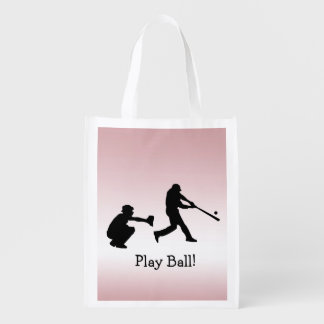 Girly Pink Baseball Play Ball Reusable Tote Bag