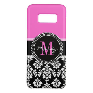 Girly Pink Black Damask Monogram Name Case-Mate Samsung Galaxy S8 Case
