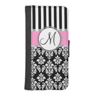 Girly, Pink, Black Damask Your Monogram Initial iPhone SE/5/5s Wallet Case