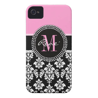 Girly Pink, Black Damask, Your Monogram iPhone 4 Case