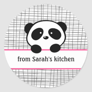 Girly Pink Black Panda Baking Stickers