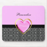 Girly Pink Black Princess Giraffe Print and Name Mousepad