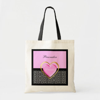 Girly Pink Black Princess Giraffe Print and Name Tote Bag