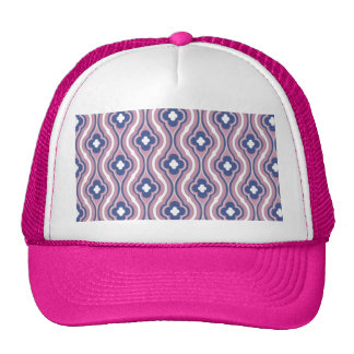 Girly Pink Blue Floral Pattern Hat