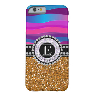 Girly Pink Blue, Gold Glitter, Diamonds, Monogram Barely There iPhone 6 Case