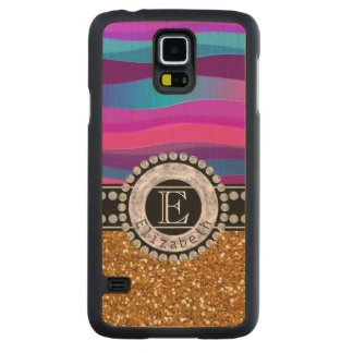 Girly Pink Blue, Gold Glitter, Diamonds, Monogram Carved Maple Galaxy S5 Case
