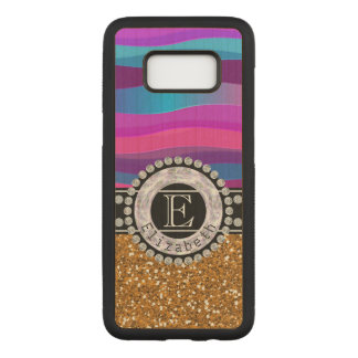 Girly Pink Blue, Gold Glitter, Diamonds, Monogram Carved Samsung Galaxy S8 Case
