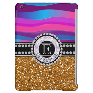 Girly Pink Blue, Gold Glitter, Diamonds, Monogram Case For iPad Air
