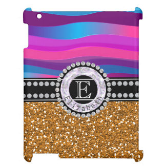 Girly Pink Blue, Gold Glitter, Diamonds, Monogram Cover For The iPad 2 3 4