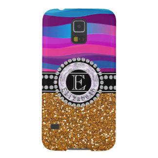 Girly Pink Blue, Gold Glitter, Diamonds, Monogram Galaxy S5 Case
