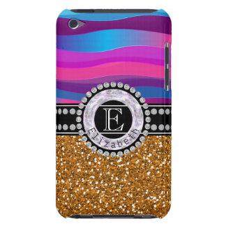 Girly Pink Blue, Gold Glitter, Diamonds, Monogram iPod Case-Mate Case