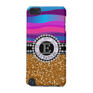 Girly Pink Blue, Gold Glitter, Diamonds, Monogram iPod Touch (5th Generation) Cover