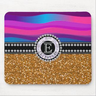 Girly Pink Blue, Gold Glitter, Diamonds, Monogram Mouse Pad