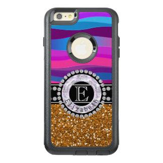 Girly Pink Blue, Gold Glitter, Diamonds, Monogram OtterBox iPhone 6/6s Plus Case