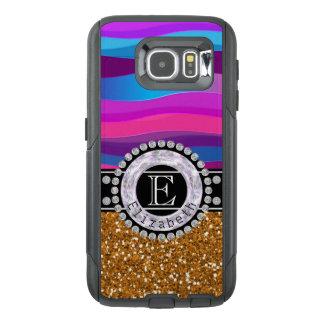 Girly Pink Blue, Gold Glitter, Diamonds, Monogram OtterBox Samsung Galaxy S6 Case
