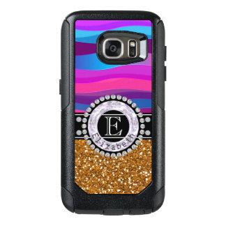 Girly Pink Blue, Gold Glitter, Diamonds, Monogram OtterBox Samsung Galaxy S7 Case