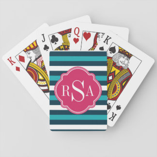 Girly Pink Blue White Striped Pattern Monogram Playing Cards