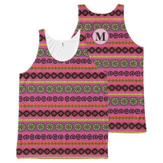 Girly Pink Boho Aztec Pattern Monogram on the Back All-Over-Print Tank Top