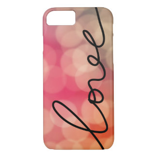 Girly Pink Bokeh Love Typography Black Script iPhone 7 Case