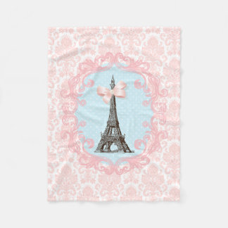 Girly Pink Bow Eiffel Tower Vintage French Damask Fleece Blanket
