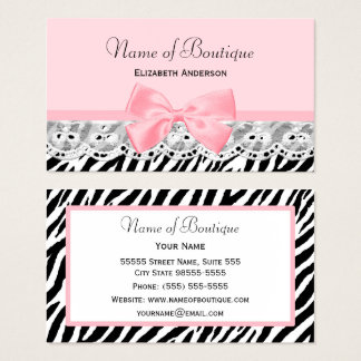 Girly Pink Bows and Lace Zebra Print Boutique Business Card