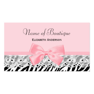 Girly Pink Bows and Lace Zebra Print Boutique Pack Of Standard Business Cards