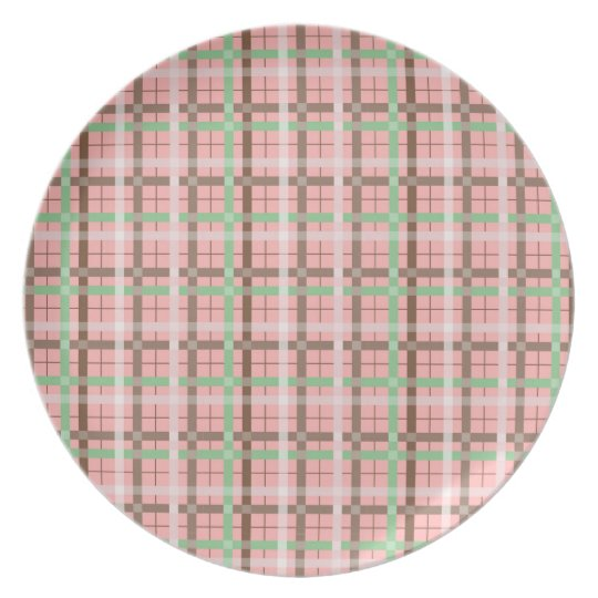 Girly Pink Brown Green Springtime Plaid Pattern Plate