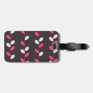 Girly Pink & Brown Leaf Pattern Bag Tag